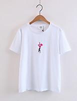 T-shirt Da donna Casual Per uscire Sensuale Semplice Moda città Estate,Ricamato Rotonda Cotone Manica corta Medio spessore Sottile