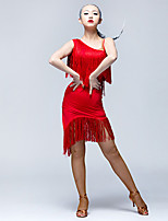 Latin Dance Dresses Women's Performance Ice Silk Tassel(s) 1 Piece Sleeveless Natural Dresses