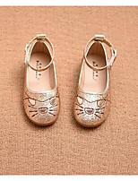 Girls' Flats Comfort PU Leatherette Spring Fall Casual Walking Comfort Magic Tape Low Heel Light Pink Silver Gold Flat