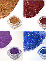 4bottles/set 0.2g/bottle Fashion Gorgeous Colorful Decoration Shining Nail Art Laser Glitter Holographic Fine Powder DIY Charm Pigment JX09-12