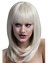 Middle Long Synthetic Wig With Bangs Women's Blonde Solid Long Wavy Wigs Synthetic Hair