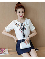 Women's Going out Casual/Daily Simple Street chic Blouse Skirt Suits,Print Round Neck Short Sleeve Micro-elastic