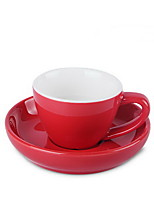 Multi-color Pull Flower Big Mouth Coffee Cup Set With Disc European Latte Cup