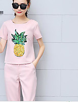 Women's Going out Casual/Daily Cute T-shirt Pant Suits,Solid Floral Round Neck Half Sleeve