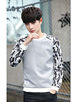 Men's Casual/Daily Sweatshirt Print Round Neck Micro-elastic Polyester Spandex Long Sleeve Spring