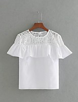 Tee-shirt Femme,Couleur Pleine Sexy simple Chic de Rue Eté Manches Courtes Col Arrondi Coton Fin Moyen