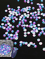 1Bottle Fashion Gorgeous Magic Gradient Color Mermaid Nail Art 3D Decoration Half Round Flat Back Pearl For Nail DIY Beauty
