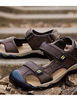 Men's Sandals Comfort PU Cowhide Nappa Leather Spring Casual Comfort Khaki Dark Brown Light Brown Flat