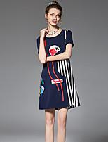 Dámské Vintage Šik ven Sofistikované Jdeme ven Běžné/Denní Velké velikosti A Line Volné Šaty Proužky Květinový Barevné bloky,Krátký rukáv