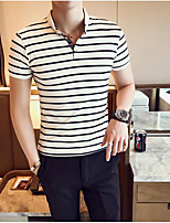 Men's Casual Simple Summer Polo,Striped Stand Short Sleeve Cotton