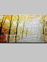 מצויר ביד פרחוני/בוטני מאוזן,מודרני סגנון ארופאי פנל אחד בד ציור שמן צבוע-Hang For קישוט הבית
