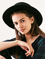 Wool Boater Flat Top Hat For Women's Felt Wide Brim Fedora Hat Laday Prok Pie Chapeu de Feltro Bowler Gambler Top Hat