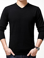 Men's Simple Regular Pullover,Solid Round Neck Long Sleeve Faux Fur Fall Thick Micro-elastic