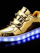 Boy's Sneakers Light Up Shoes Leatherette Spring/Fall Casual Walking Light Up Shoes Magic Tape Flat Heel Silver Black White Gold2in-2