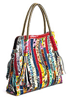 Women's Shoulder Bag Cowhide All Seasons Rectangle Split Joint Zipper Rainbow