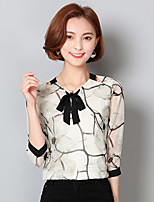 Women's Going out Cute Spring Summer Blouse,Print Round Neck Long Sleeve Polyester Medium