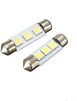 2W white 41MM  Festoon 3LED SMD5050 DC12V Licence Plate Dome Interior Light Led Lamp Car LED Bulb Parking 2PCS