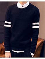 Для мужчин На выход Обычный Пуловер Однотонный,Рубашечный воротник Длинный рукав Хлопок Осень Средняя Слабоэластичная