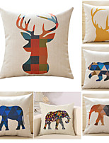 Set Of 6 Classic Geometry Animal Pillow Cover Square Cotton/Linen Pillow Case
