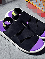 Men's Slippers & Flip-Flops Comfort Fabric Spring Casual Comfort Black/White Purple Black Flat