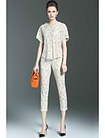Chemisier Pantalon Costumes Femme,Couleur Pleine Décontracté / Quotidien simple Printemps Eté Manches Courtes Col Arrondi