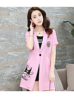 Women's Daily Simple Summer Blazer,Others Notch Lapel Short Sleeve Long Other