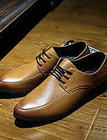 Для мужчин Мокасины и Свитер Удобная обувь Кожа Тюль Полиуретан Весна Повседневный Черный Серый Коричневый На плоской подошве
