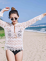 Women's Daily Casual Lawn Swimming Date Sexy Simple Cute All Seasons Summer T-shirt,Solid V Neck Long Sleeve Cotton Rayon Lace