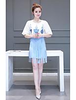 Women's Going out Cute Summer T-shirt Skirt Suits,Geometric Round Neck ½ Length Sleeve Tassel