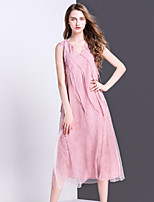 ALLA ONER Women's Going out Casual/Daily Simple A Line Loose Dress,Solid V Neck Midi Sleeveless Silk Summer Mid Rise Inelastic Thin