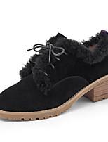 Women's Boots Comfort PU Spring Winter Casual Brown Black Flat