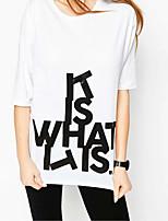 T-shirt Da donna Per uscire Casual Sensuale Semplice Moda città Estate,Alfabetico Rotonda Cotone Sottile Medio spessore