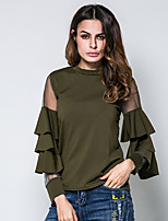 Women's Birthday Daily Outdoor clothing Going out Casual/Daily Date Simple Street chic Spring Summer T-shirt,Solid Round Neck Long Sleeves
