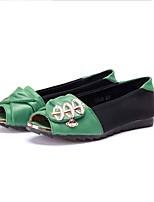Для женщин Мокасины и Свитер Удобная обувь Ткань Весна Лето Повседневные Удобная обувь Лак На плоской подошвеЧерный/Зеленый Оранжевый и