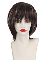 Straight Ladies Wig Natural Dark Brown Mixed Blonde Highlights Synthetic Wig with Bangs For European and American Afro Women Heat Resistant Cosplay