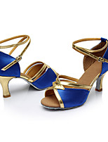 Women's Latin Satin Sandals Indoor Heel Blue Customizable