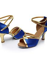 Maßfertigung Damen Latin Seide Sandalen Innen Maßgefertigter Absatz Blau