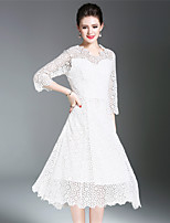 SUOQI Women Dresses Going out Party A Line Dress Solid V Neck Short Sleeve Lace Dress Spring Summer