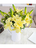 10 Heads and 5 Buds Silk Polyester Lilies Tabletop Flower Artificial Flowers