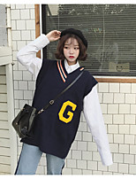 Sign Korean version of the new wild college wind big letters V-neck sweater vest