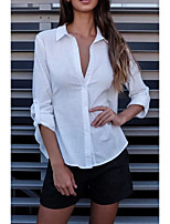 Chemise Femme,Couleur Pleine Impression de dentelle Sortie Décontracté / Quotidien Sexy simple Chic de Rue Eté Manches LonguesCol de