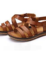 Men's Sandals Comfort Cowhide Spring Casual Comfort Brown Flat
