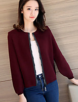 Women's Casual/Daily Holiday Long Cardigan,Animal Print Round Neck Long Sleeve Cotton Fall Winter Medium Micro-elastic