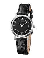 Women's Fashion Watch Quartz Water Resistant / Water Proof Three Time Zones Leather Band Charm Black White