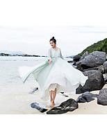 קיץ פוליאסטר שרוול ארוך מקסי צווארון V אחיד סגנון סיני חג שמלה סווינג נשים,גיזרה נמוכה קשיח דק