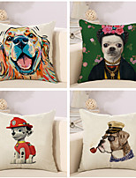 Set Of 4 Cartoon Dog Pattern Sofa Cushion Cover Fashion Pillow Cover Cotton/Linen Pillow Case