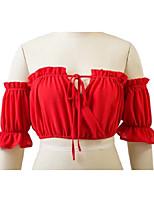 T-shirt Da donna Sensuale Semplice Moda città Estate,Tinta unita A barca Cotone Manica corta Sottile Medio spessore