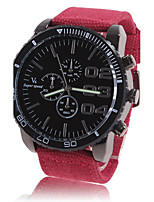 Men's Dress Watch Automatic self-winding Large Dial Fabric Band Casual Red Green Navy