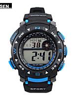Masculino Relógio Esportivo Relogio digital Chinês Digital Calendário Impermeável Cronômetro Borracha Banda Preta