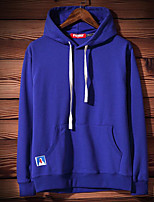 Men's Daily Casual Hoodie Solid Hooded Micro-elastic Cotton Long Sleeve Fall